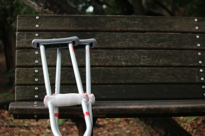 Crutches Against a Bench |The Top 10 Biggest Mistakes Made in Personal Injury Claims