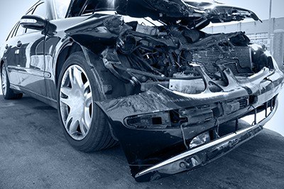 black and white photo of car with smashed front end | Colorado's Vision Zero Traffic Fatality Plan