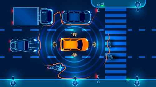 graphic of car with lane detection technology | New Safety Features Drastically Reduce Accidents
