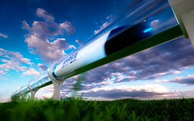 artistic rendering of what the Rocky Mountain Hyperloop could look like